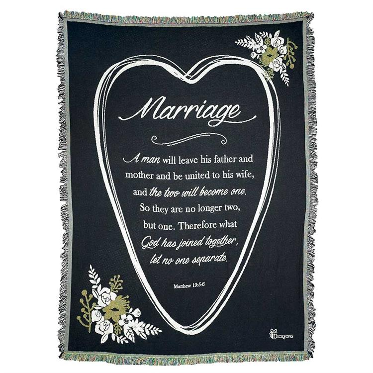 "Bed & Bath - Throws - Marriage ""Two Will Become One"""