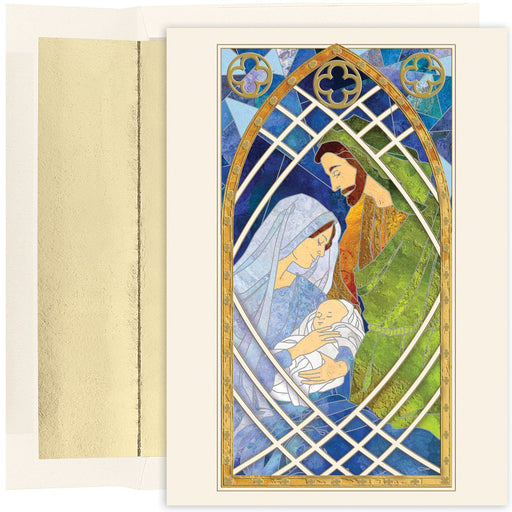 Christmas Card - Jesus Family Stained Glass - Love the Lord Inc
