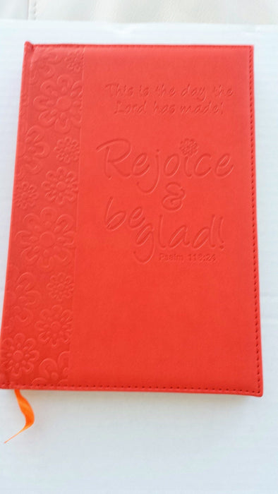IMITATION LEATHER JOURNAL REJOICE & BE GLAD ORANGE - Love the Lord Inc