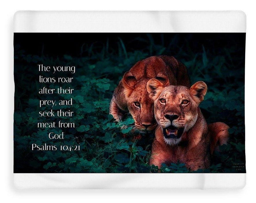 Lions Seek Food From God - Blanket - Love the Lord Inc