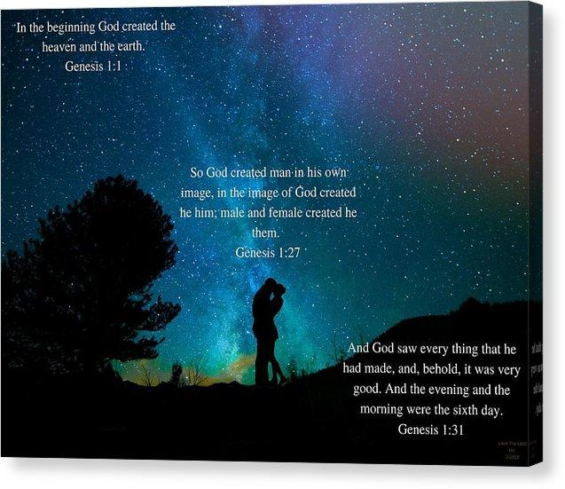 In The Beginning God Created Male And Female - Canvas Print - Love the Lord Inc