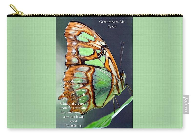 Green Butterfly - God Made Me Too - Carry-All Pouch - Love the Lord Inc