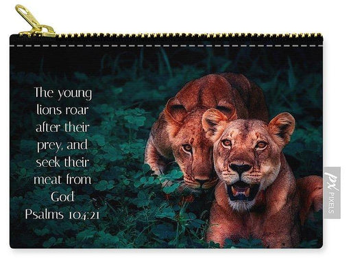 Lions Seek Food From God - Carry-All Pouch - Love the Lord Inc
