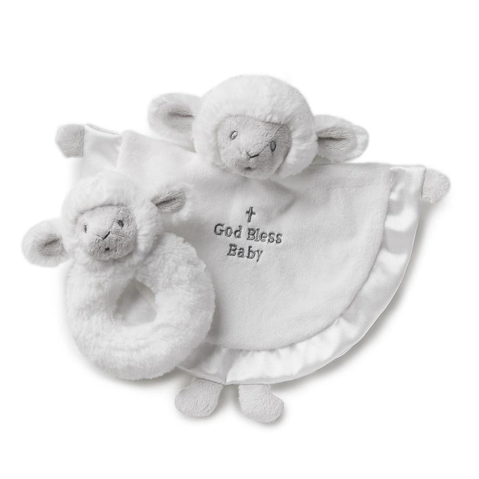 Baby Gift Set - Lamb Blankie & Rattle Gift Set (God Bless Baby) - Love the Lord Inc