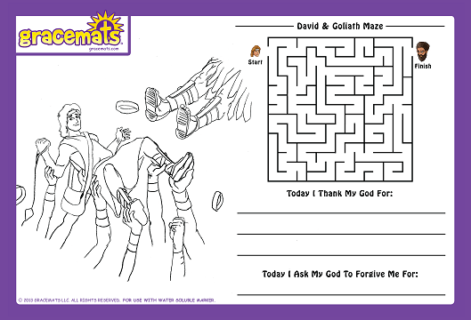 Christian Childrens Placemat - Story of David and Goliath - Love the Lord Inc