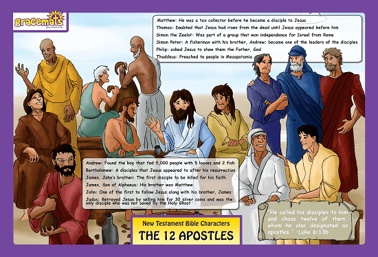 Christian Childrens Placemat - THE 12 APOSTLES - Love the Lord Inc