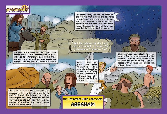 Christian Childrens Placemat - The Story of Abraham - Love the Lord Inc