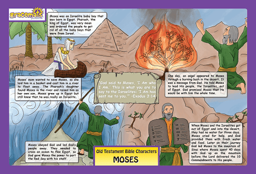 Christian Childrens Placemat - The Story of Moses - Love the Lord Inc