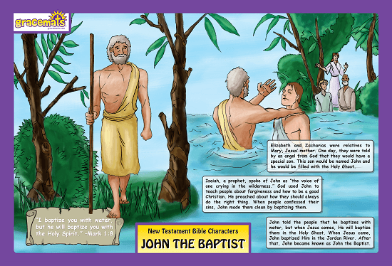 Christian Childrens Placemats - John The Baptist - Love the Lord Inc