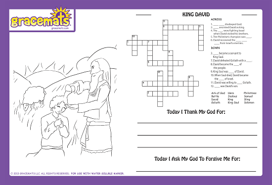 Christian Childrens Placemats - King David - Love the Lord Inc