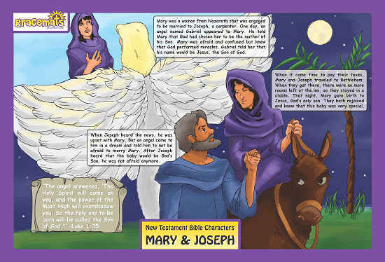 Christian Childrens Placemats - Mary and Joseph - Love the Lord Inc
