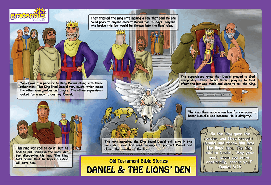 Christian Childrens Placemats - The Story of Daniel and the Lions - Love the Lord Inc
