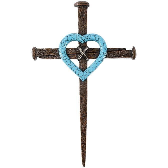 Cross -Turquoise Heart Nail Wall Cross - Love the Lord Inc