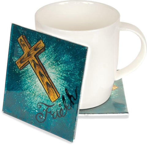 "Cup/Mug - Christian Gift - 4"" Faith Cross Coaster Set"