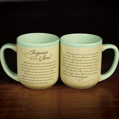 "Christian Mug - ""Footprints in the Sand"" Mug - Love the Lord Inc"