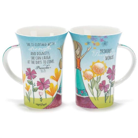 "Cup/Mug - Christian Mug - Latte Mug ""She Is Clothed With Dignity"" Prov 31"