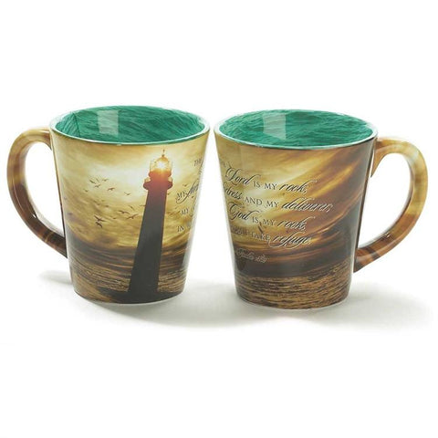 "Cup/Mug - Christian Mug - Lighthouse ""The Lord Is My Rock"""