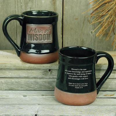 "Christian Mug - ""Man of Wisdom"" Pottery Mug - Love the Lord Inc"
