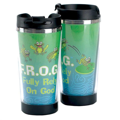 Christian Mug - Travel Mug (FROG - Fully Rely On God!) Childrens - Love the Lord Inc