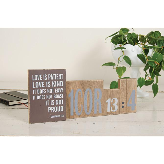 "Christian Art - ""Love Is Patient"" Message Bar - Love the Lord Inc"