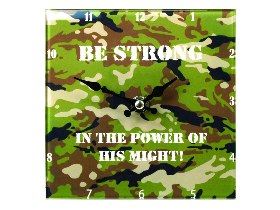 "Christian Clock - Glass Desktop Clock ""Be Strong Camo"" - Love the Lord Inc"