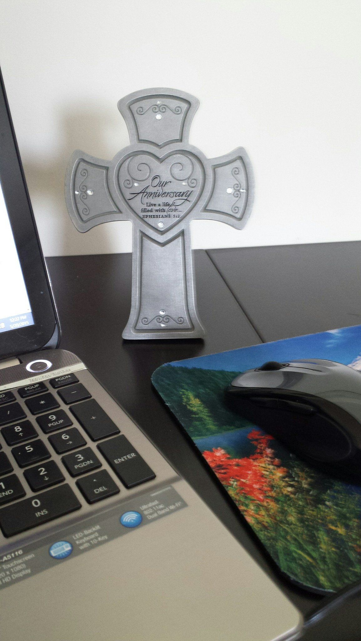 Desk/Plaque - Christian Cross - Our Anniversary