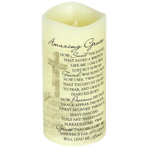"Desk/Plaque - Christian Gift - Everlasting Glow With Premier Flicker ""Amazing Grace"" Candle"