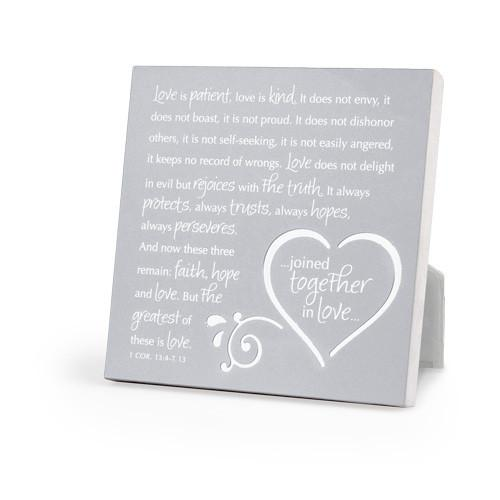 "JOINED TOGETHER IN LOVE - PLAQUE ""Love Is Patient"" - ITEM 40887 - Love the Lord Inc"