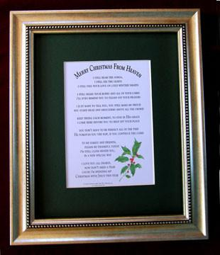 Desk/Plaque - Memorial Gift - Merry Christmas From Heaven Wall Art