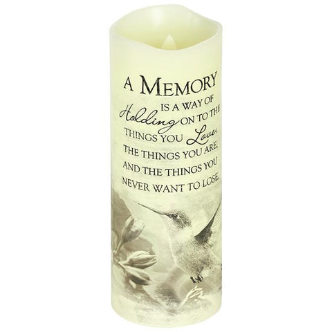 "Desk/Plaque - Memory Gift -  Everlasting Glow With Premier Flicker ""A Memory"" Candle"