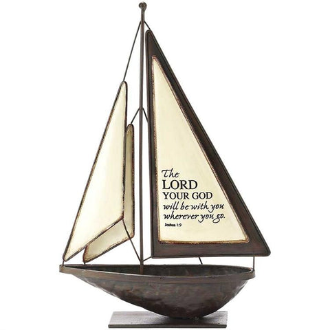 "Desk/Plaque - Sailboat - ""The Lord Will Be With You Wherever You Go"""