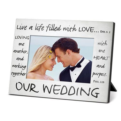 "Desk/Plaque - Scripture Gifts - Photo Frame ""Our Wedding"""