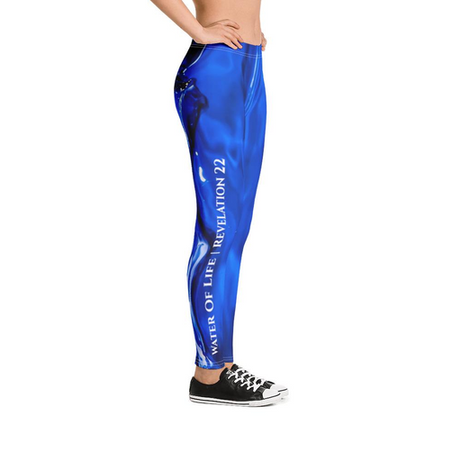 Scripture Leggings - River Of Life (Blue) - Love the Lord Inc