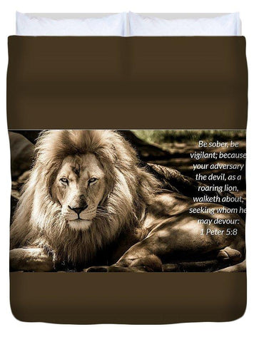 Duvet Cover - Be Sober Your Adversary - Duvet Cover