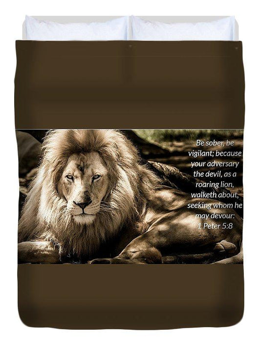 Be Sober Your Adversary - Duvet Cover - Love the Lord Inc