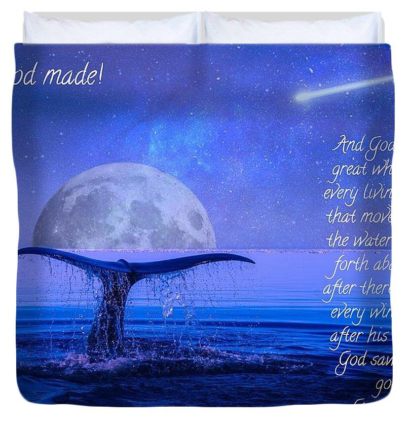 God Made Moon And Whale - Duvet Cover (Comforter) - Love the Lord Inc