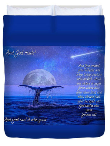 Duvet Cover - God Made Moon And Whale - Duvet Cover