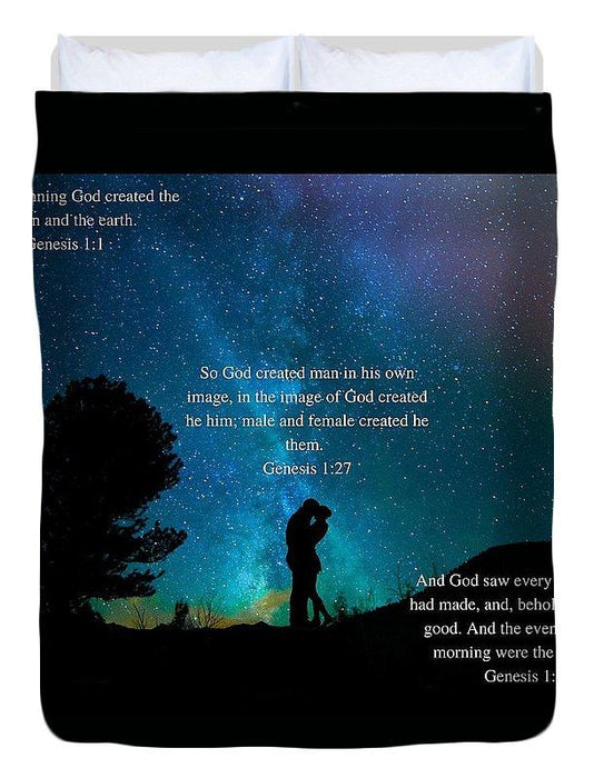 In The Beginning God Created Male And Female - Duvet Cover - Love the Lord Inc
