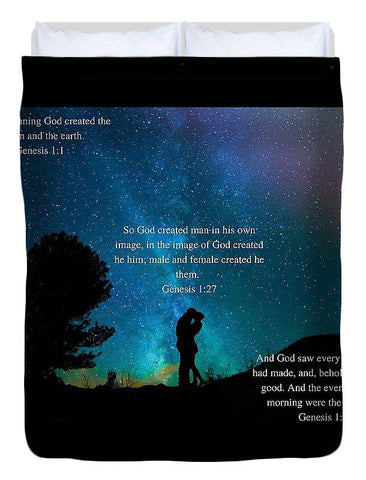 Duvet Cover - In The Beginning God Created Male And Female - Duvet Cover