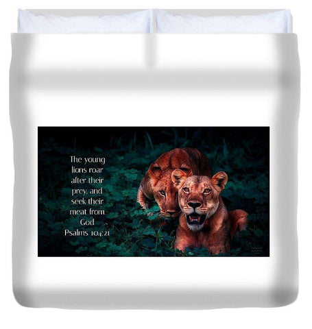 Duvet Cover - Lions Seek Food From God - Duvet Cover