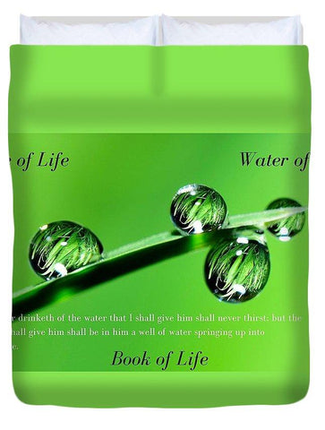 Duvet Cover - Tree Water Book Of Life Water Drops - Duvet Cover