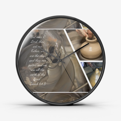 Wall Clock Silent Non Ticking Quality Quartz - God is the Potter, We are the Clay - Love the Lord Inc