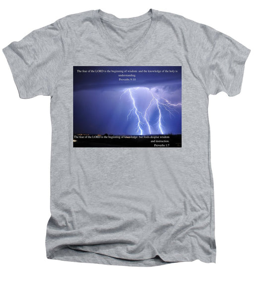 Fear Of The Lord - Thunder - Men's V-Neck T-Shirt - Love the Lord Inc