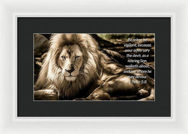 Be Sober Your Adversary - Framed Print - Love the Lord Inc