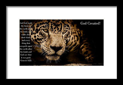 God Created Jaguar - Framed Print - Love the Lord Inc