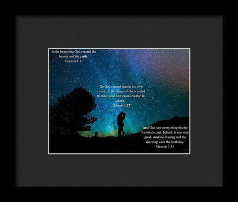 Framed Print - In The Beginning God Created Male And Female - Framed Print