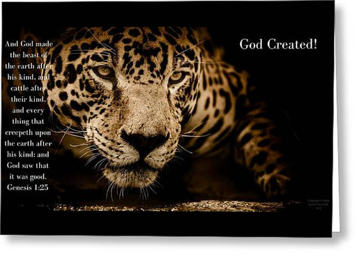 God Created Jaguar - Greeting Card - Love the Lord Inc