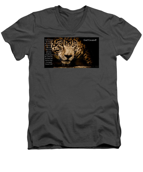 God Created Jaguar - Men's V-Neck T-Shirt - Love the Lord Inc