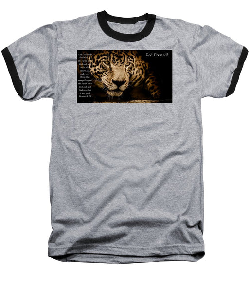 God Created Jaguar - Baseball T-Shirt - Love the Lord Inc