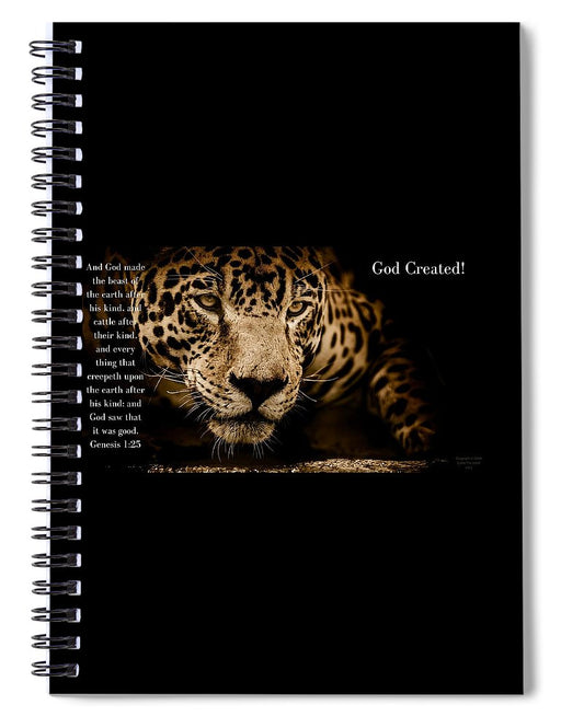 God Created Jaguar - Spiral Notebook - Love the Lord Inc